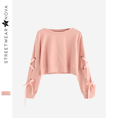 Pink Laced Crop Top Sweatshirt