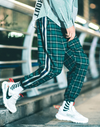 Striped Plaid Flannel Patchwork Joggers