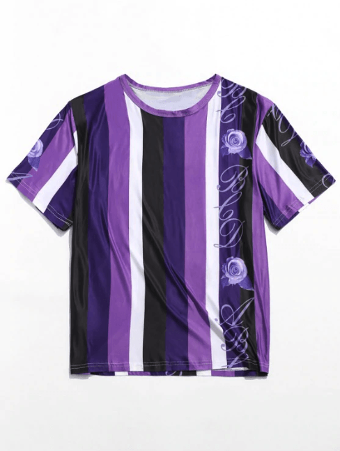 Purple Rose Striped Print T-shirt