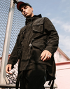 Semi-Long Pocketed Trench Coat Outerwear Black L Streetwear Nova