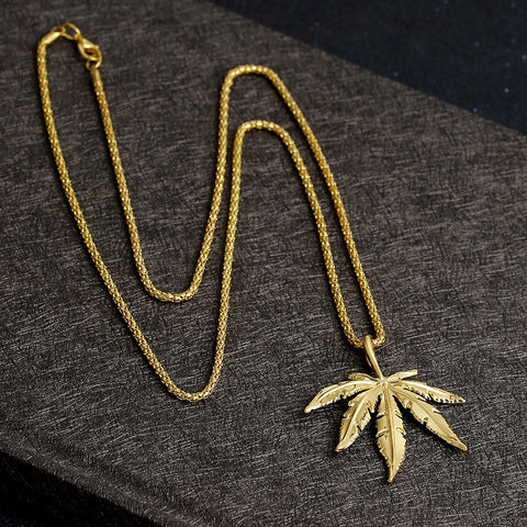 Men's Pot Weed Big Leaf Pendants&Necklaces Gold Color Plated Hip Hop Cool Leaves Pendant Necklace For Men Gift