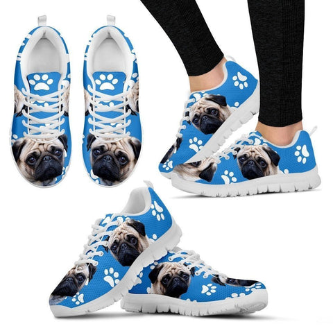 Paws Print Pug Dog (Black/White) Running Shoes For Women- Express Delivery