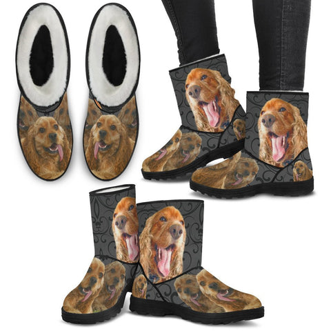 Amazing Cocker Spaniel Print Faux Fur Boots For Women-Free Shipping