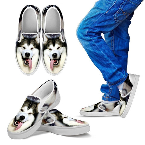 Alaskan Malamute Dog Print Slip Ons For Kids- Express Shipping