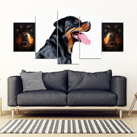 Rottweiler 5 Piece Framed Canvas- Free Shipping