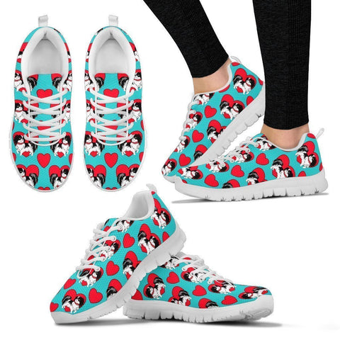 Japanese Chin Pattern Print Sneakers For Women- Express Shipping