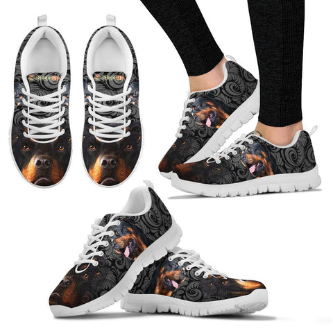 Rottweiler On Black-Women's Running Shoes-Free Shipping