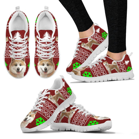 Akita Dog Print Christmas Running Shoes For Women-Free Shipping