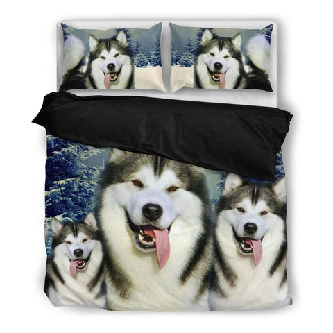 Laughing Alaskan Malamute Print Bedding Set- Free Shipping