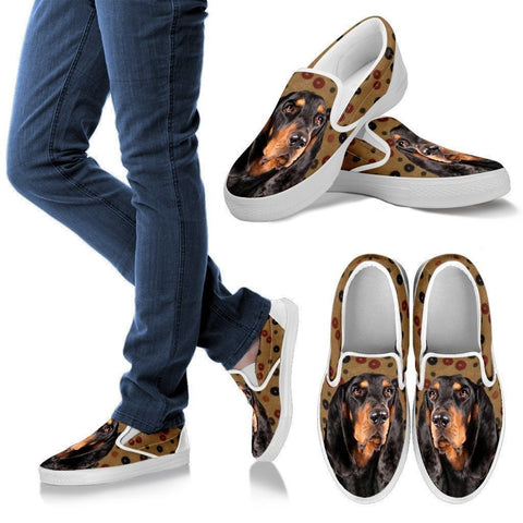 Black and Tan Coonhound Dog Print Slip Ons For Women-Express Shipping