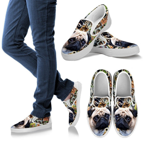 Amazing Pug Print Slip Ons For Women-Express Shipping