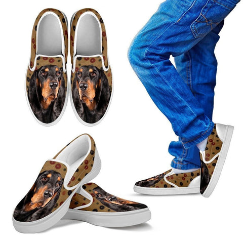 Black and Tan Coonhound Dog Print Slip Ons For Kids-Express Shipping