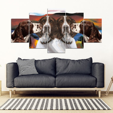 English Springer Spaniel Print-5 Piece Framed Canvas- Free Shipping
