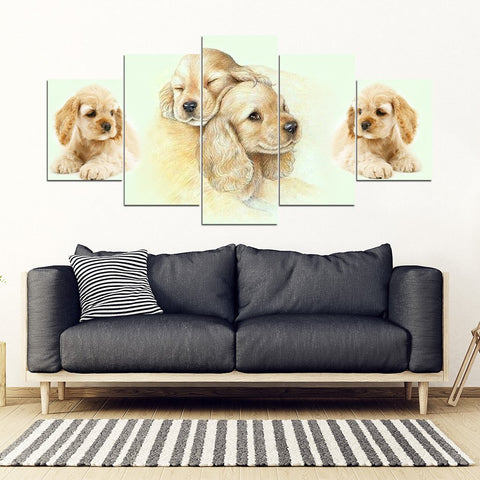 Cocker Spaniel Print-5 Piece Framed Canvas- Free Shipping