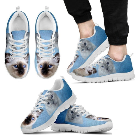 Cute Birman Cat Print Sneakers For Men(White/Black)- Free Shipping