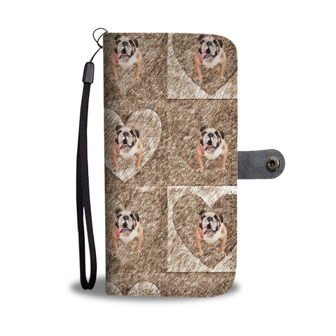 Bulldog In heart Print Wallet Case-Free Shipping