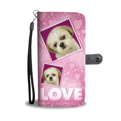Shih Tzu Dog with Love Print Wallet Case-Free Shipping