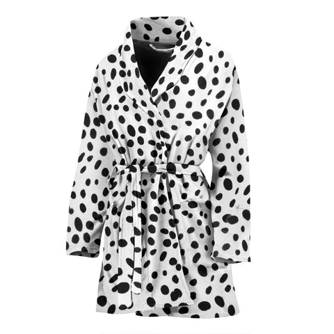 Dalmatian Dog Skin Print Women's Bath Robe-Free Shipping
