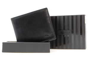 ASHWOOD - Slim Classic Bi-fold Wallet & Gift Box - Genuine Leather - 8 credit card section - 1211 - VT Black