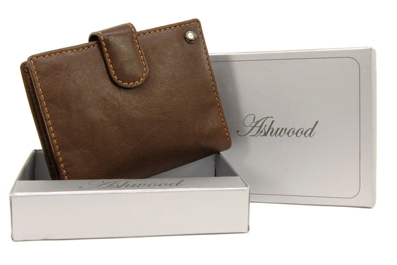 Ashwood Tri Fold Coin Wallet & Gift Box - Genuine Leather - 6 credit card section, coin pouch and ID holder - 1246 - Brown & Tan