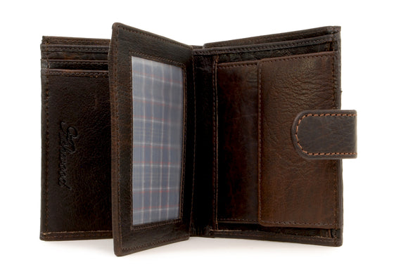 Ashwood Flipside Bill Fold Coin Wallet & Gift Box - Brown Buffalo Leather