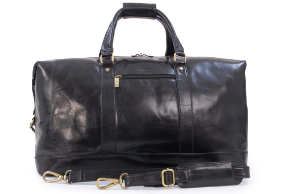ASHWOOD - Genuine Leather Holdall - Extra Large Overnight / Travel / Business / Weekend / Gym Sports Duffle Bag - 2081 - Black