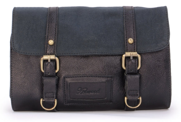 ASHWOOD - Men's Hanging Wash Bag / Shaving Bag / Travel / Gym / Toiletry Bag - Genuine Leather and Canvas - HAMMERSMITH 7010 - Black