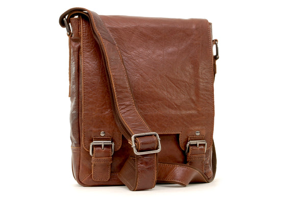 Ashwood Messenger Bag - Laptop / iPad A4 Size - Cross Body / Shoulder / Work Bag - Genuine Leather - 8342 - Tan