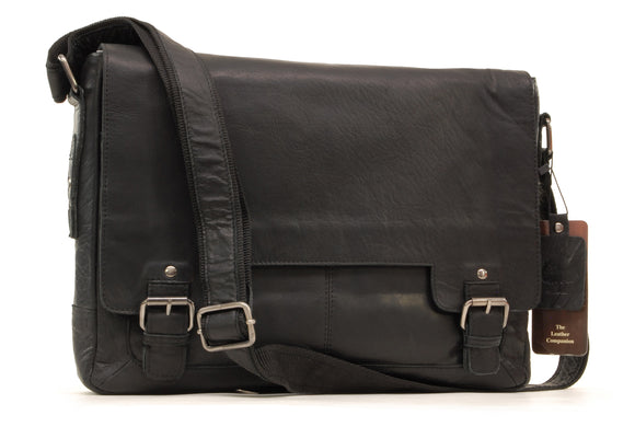 ASHWOOD - Messenger Shoulder Bag - Laptop Bag with Padded Compartment - Business Office Work Bag - Genuine Leather - 8343 - Black