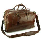 ASHWOOD - Genuine Leather Wheeled Holdall - Large Overnight / Business / Weekend / Travel Trolley Bag with Telescopic Handle - ALBERT - Chestnut