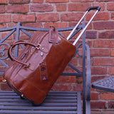 ASHWOOD - Genuine Leather Wheeled Holdall - Large Overnight / Business / Weekend / Travel Trolley Bag with Telescopic Handle - ALBERT - Mud