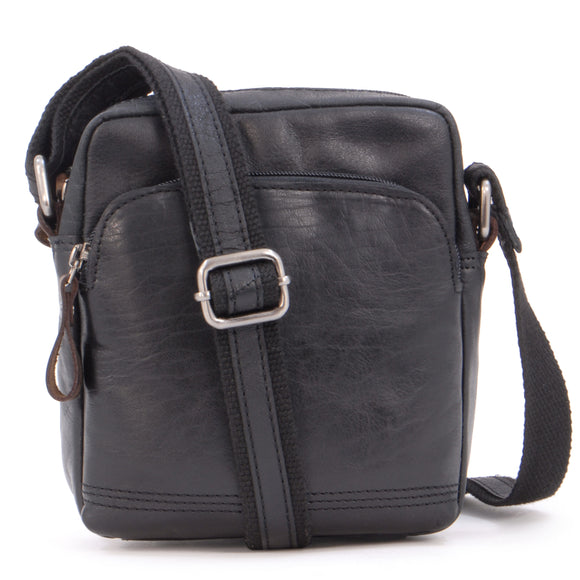ASHWOOD - Vintage Leather Messenger Shoulder Bag - Small Cross-Body Bag F-81 - Travel Flight Holiday - Black