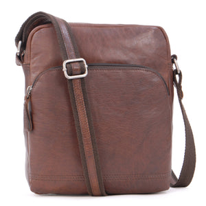 Ashwood Vintage Leather Messenger Shoulder Bag - Medium Size F-82 Travel Flight Holiday - Tablet eBook - Brandy