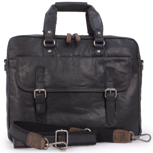ASHWOOD - Soft Vintage Leather Briefcase Laptop Messenger Bag - F83 - Work Office College University - Black