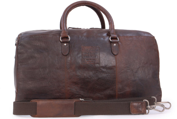 ASHWOOD - Large Vintage Leather Holdall - F-87 - Travel Business Weekend Overnight Bag - Sports Gym - Brandy