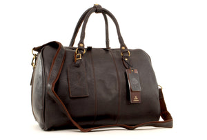 ASHWOOD - Genuine Leather Holdall - Large Overnight / Travel / Business / Weekend / Gym Sports Duffle Bag - HARRY - Dark Brown
