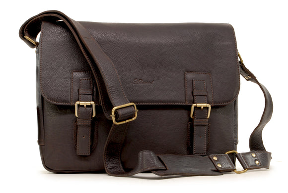 ASHWOOD - Briefcase Cross Body Messenger Bag - Laptop Bag / Business Office Work Bag - Genuine Leather - JASPER - Dark Brown