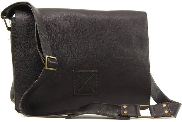 Ashwood Messenger Bag - Cross Body / Shoulder / Laptop Bag - Business Office Work Bag - Genuine Leather - PEDRO - Dark Brown