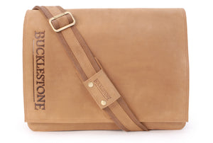 BUCKLESTONE - Large Leather Messenger / Shoulder Bag - Laptop Compartment - Leather - CHESTER (L)