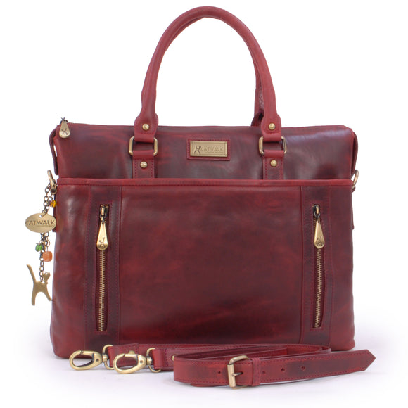 CATWALK COLLECTION HANDBAGS - Ladies Leather Briefcase Cross Body Bag - Women's Organiser Work Bag - Tablet / Laptop Bag - ADELE - Red