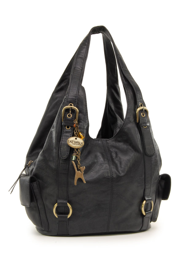 CATWALK COLLECTION HANDBAGS - Women's Large Leather Shoulder Bag - ALEX - Black