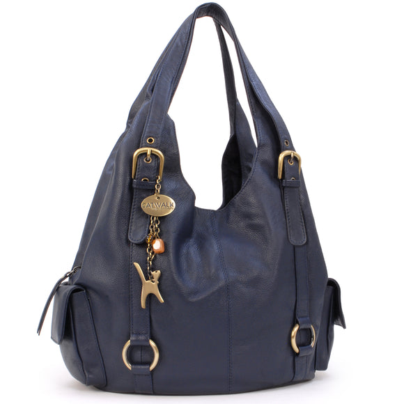 CATWALK COLLECTION HANDBAGS - Women's Large Leather Shoulder Bag - ALEX - Navy Blue