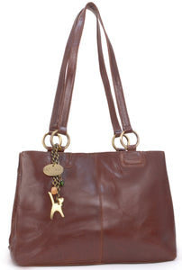CATWALK COLLECTION HANDBAGS - Women's Large Vintage Leather Tote / Shoulder Bag - BELLSTONE - Brown