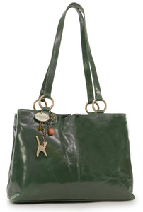 CATWALK COLLECTION HANDBAGS - Women's Large Vintage Leather Tote / Shoulder Bag - BELLSTONE - Green