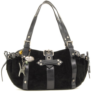 CATWALK COLLECTION HANDBAGS - Women's Suede and Leather Top Handle / Shoulder Bag - CAPRICE - Black