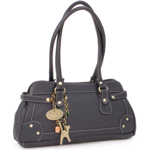 CATWALK COLLECTION HANDBAGS - Women's Leather Top Handle / Shoulder Bag - CARNABY STREET - Black