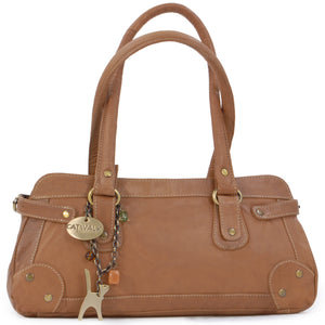 CATWALK COLLECTION HANDBAGS - Women's Leather Top Handle / Shoulder Bag - CARNABY STREET - Tan