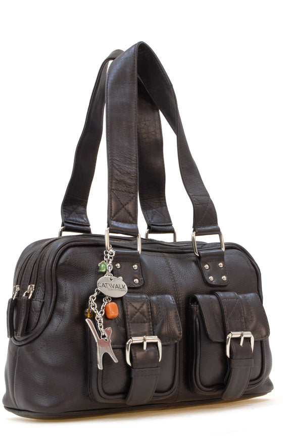 Catwalk Collection Caroline Bag - Dark Brown Leather