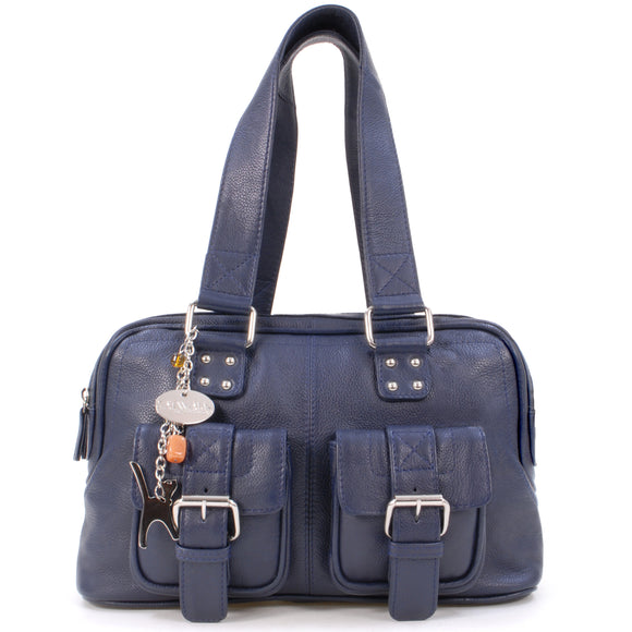 Catwalk Collection Caroline Bag - Navy Blue Leather