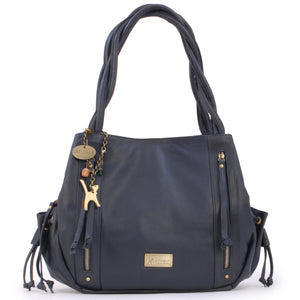 CATWALK COLLECTION HANDBAGS - Women's Leather Tote / Shoulder Bag - CAZ - Blue